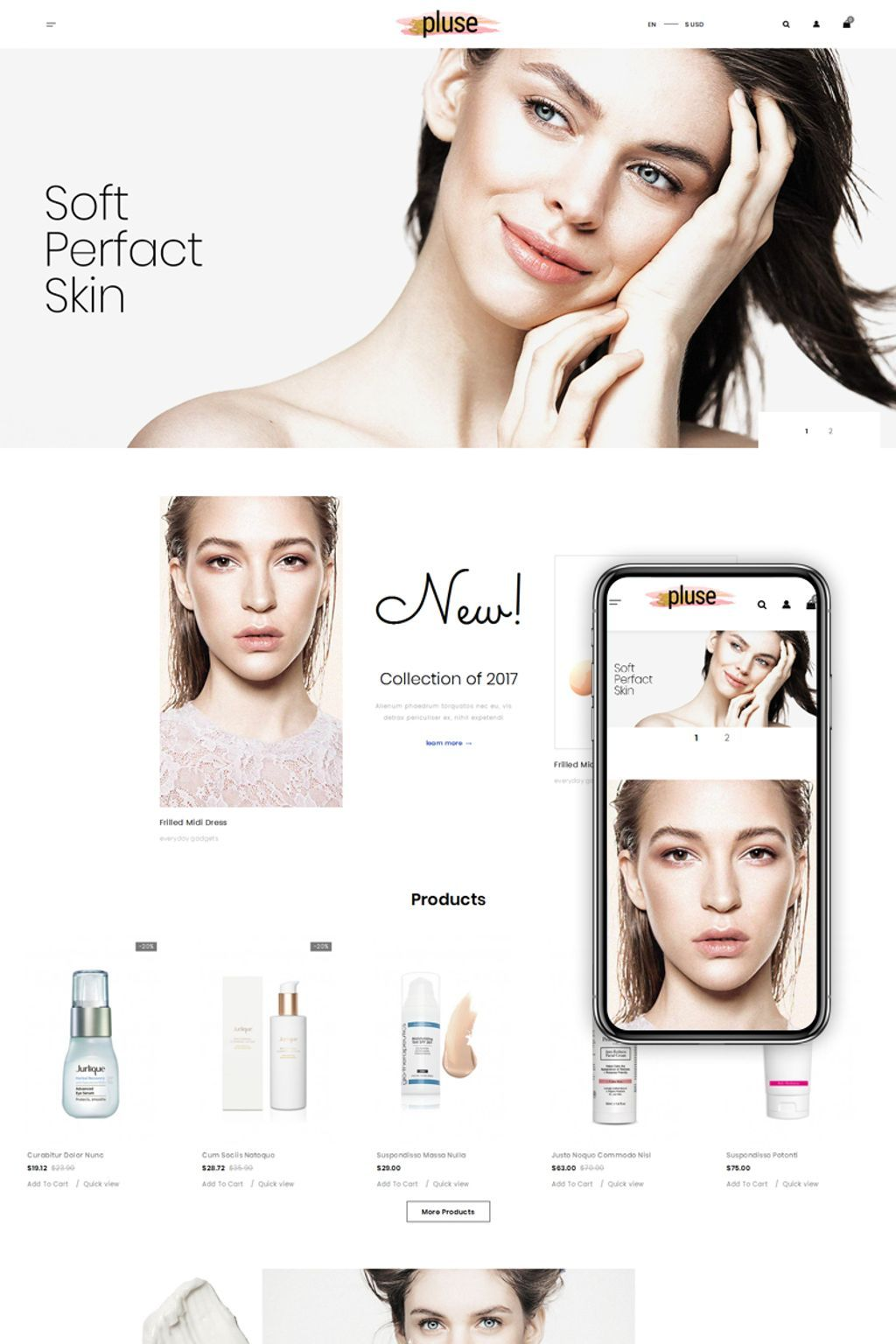 Pluse Cosmetic Store Theme Cosmetic web
