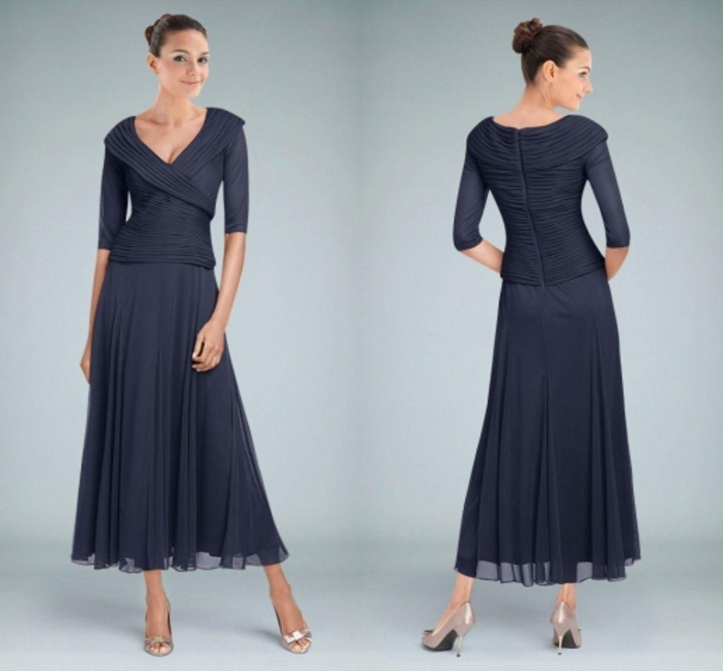 2015 Navy Blue V Neck Mother of the Bride Dresses with Half Sleeves ...