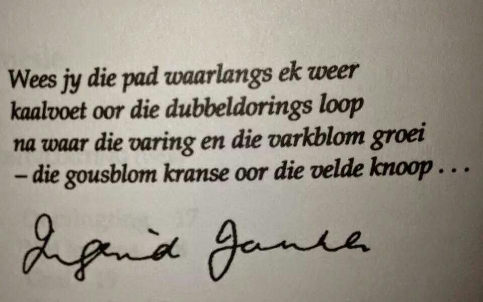 Ingrid Jonker Afrikaans Digkuns Afrikaanse Quotes Words