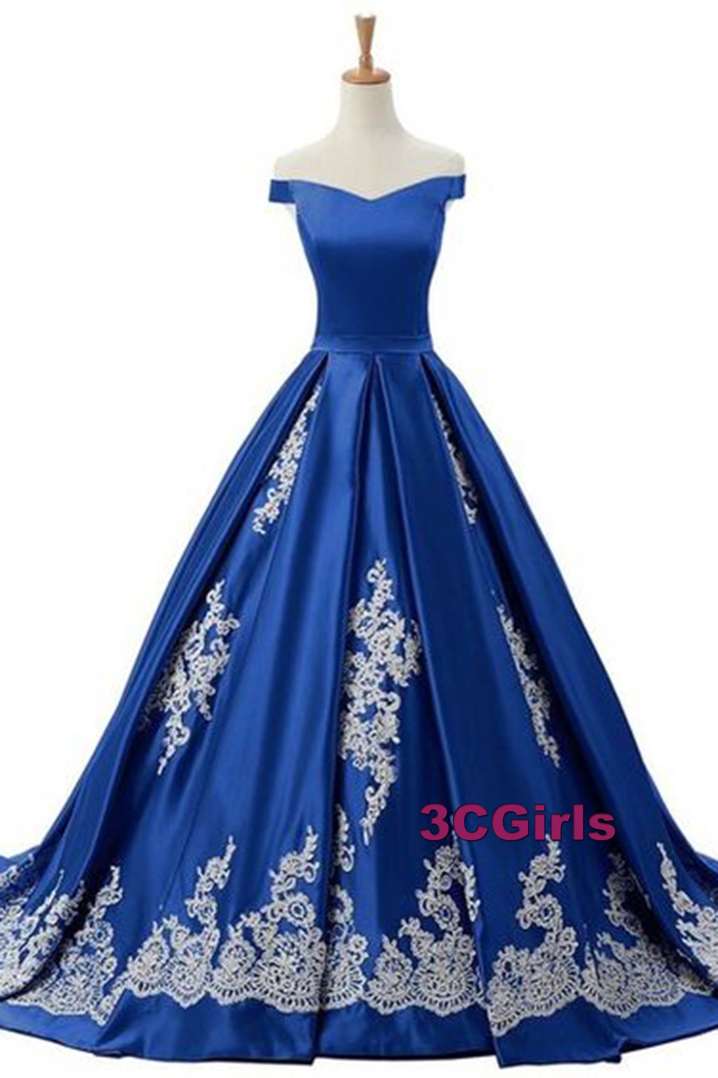 Vintage prom dress offshoulder ball gown beautiful navy blue