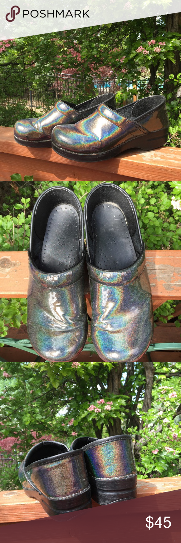 Dansko clogs. Size 40. Black grey rainbow prism Good condition. Very small tear on right clog (see first photo) and some creases on top of clogs. Dansko Shoes Mules & Clogs