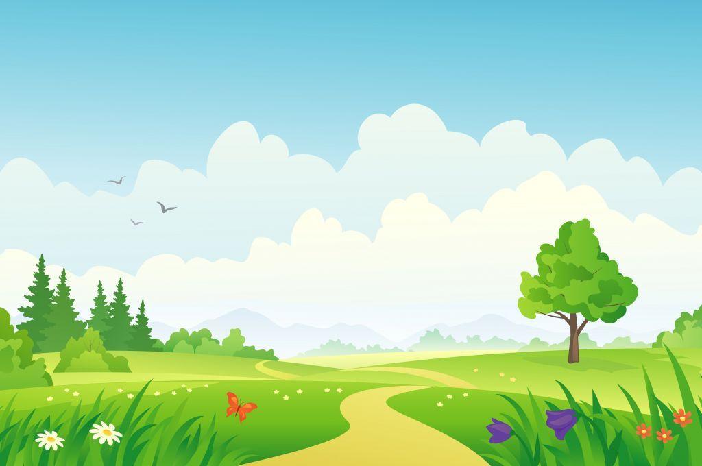 Cloudy Day On Green Field Pemandangan Gambar Desain Banner
