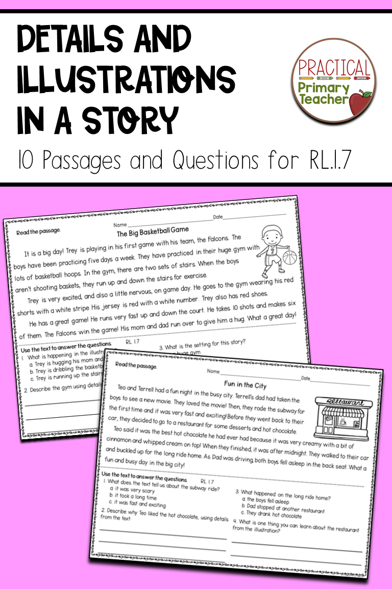 Details And Illustrations In A Story Reading Passages First Grade Reading Reading Comprehension Passages [ 1152 x 768 Pixel ]