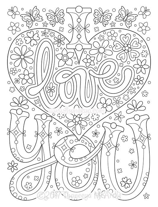free love coloring pages printables | 'I Love You' Coloring Page from Thaneeya McArdle's Power ...