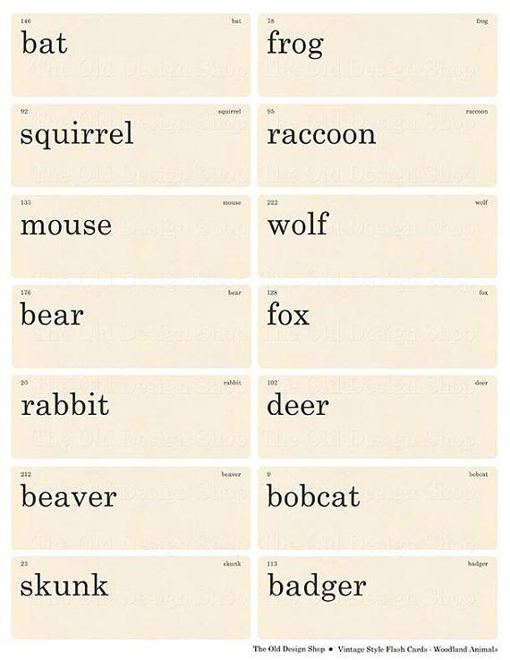 Vintage Style Flashcards Woodland Animals Printable Digital Etsy In 2020 Flashcards Vintage Words Vintage