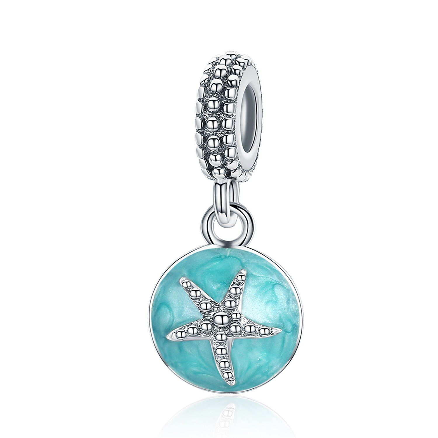 Sterling Silver Starfish Dangle Charms Bead Blue Lucky Star Charms