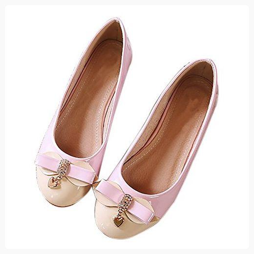 3d9744006576 QZUnique Women s Round Toe Patent Leather Shining Slip On Boat Ballet Flat  Shoes Pink US 8