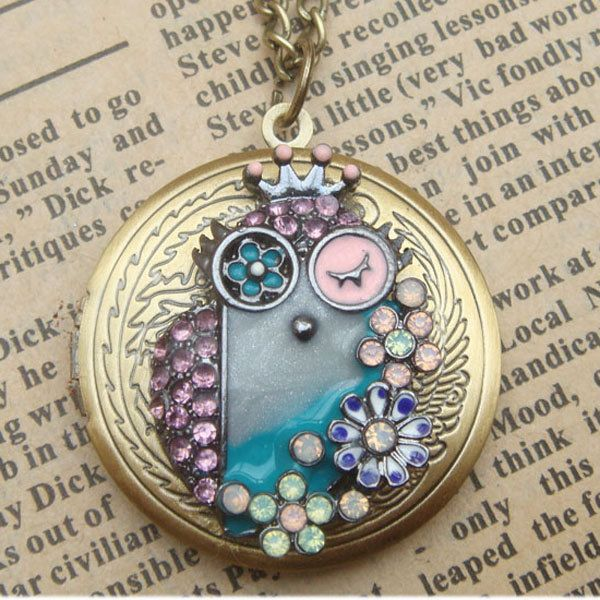 Steampunk Colorful Owl Locket Necklace Vintage Style Original Design. $16.00, via Etsy.