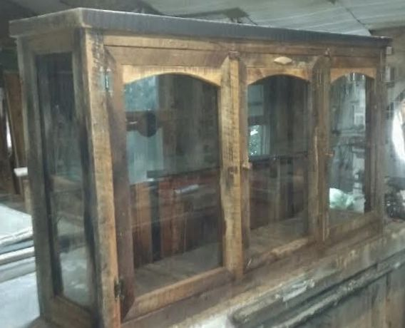Barn Wood Curio Cabinet With A Glass Shelf That I Custom Built