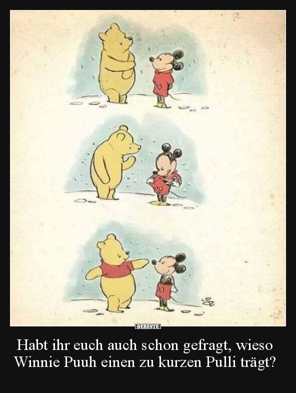 Habt ihr euch auch schon gefragt, wieso Winnie Puuh einen.. | Lustige Bilder, Sprüche, Witze, echt lustig #disneypixar