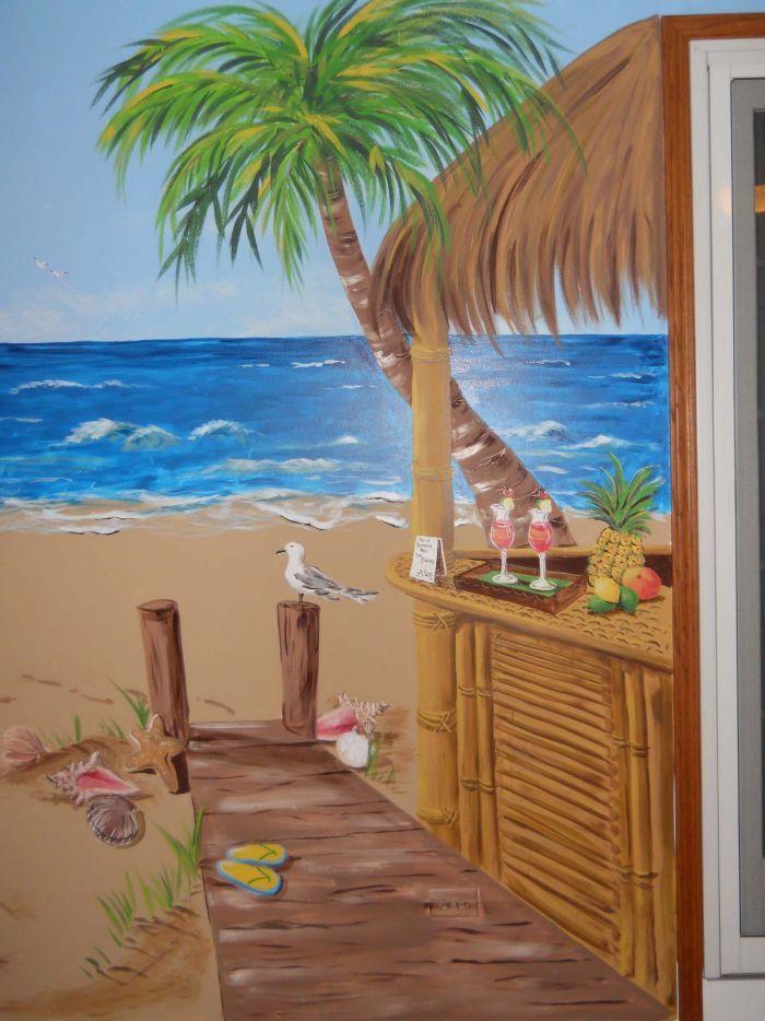 Baum Beach Scene Tiki Hut Mural Idea As Seen On Www