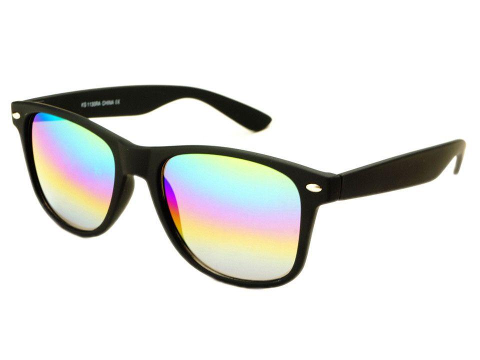 wayfarer sunglasses cheap hstm  Rainbow Mirror Lens Soft Touch Retro Wayfarer Sunglasses Black  FREYRS