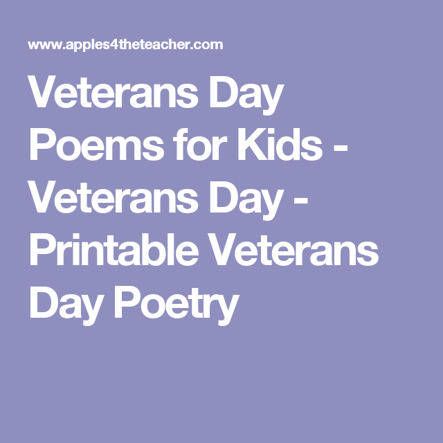 Veterans Day Poems For Kids By Roger Robicheau