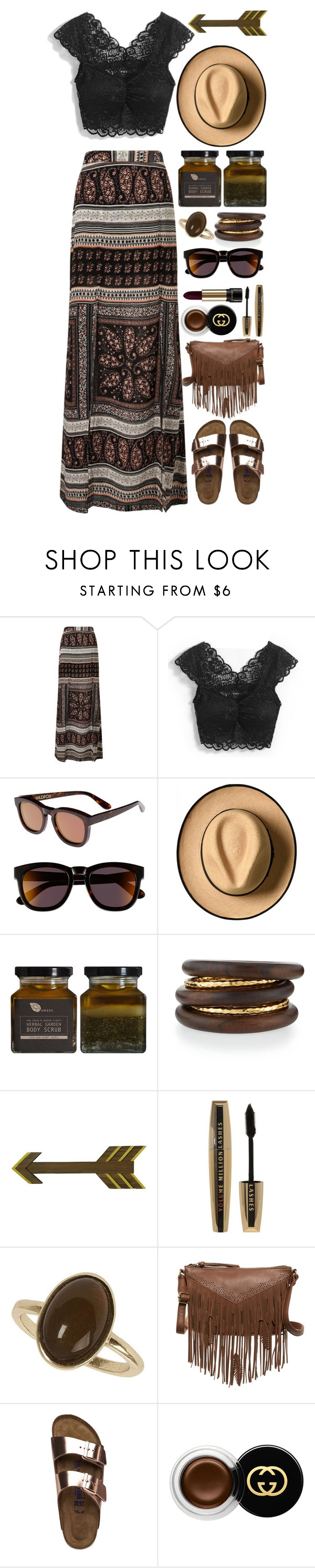 """WILDFOX // itsybitsy62"" by itsybitsy62 ❤ liked on Polyvore featuring Miss Selfridge, WithChic, Wildfox, AMBRE, NEST Jewelry, L'Oréal Paris, Dorothy Perkins, T-shirt & Jeans, Birkenstock and Gucci"