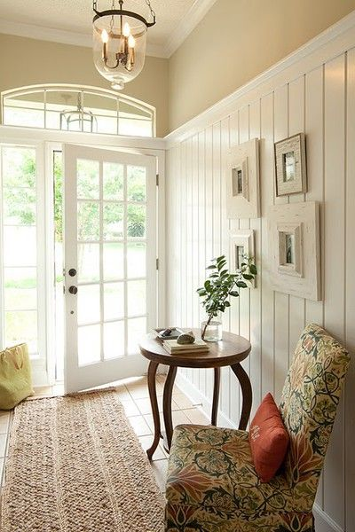 Lovely tongue and groove walls and beautiful door