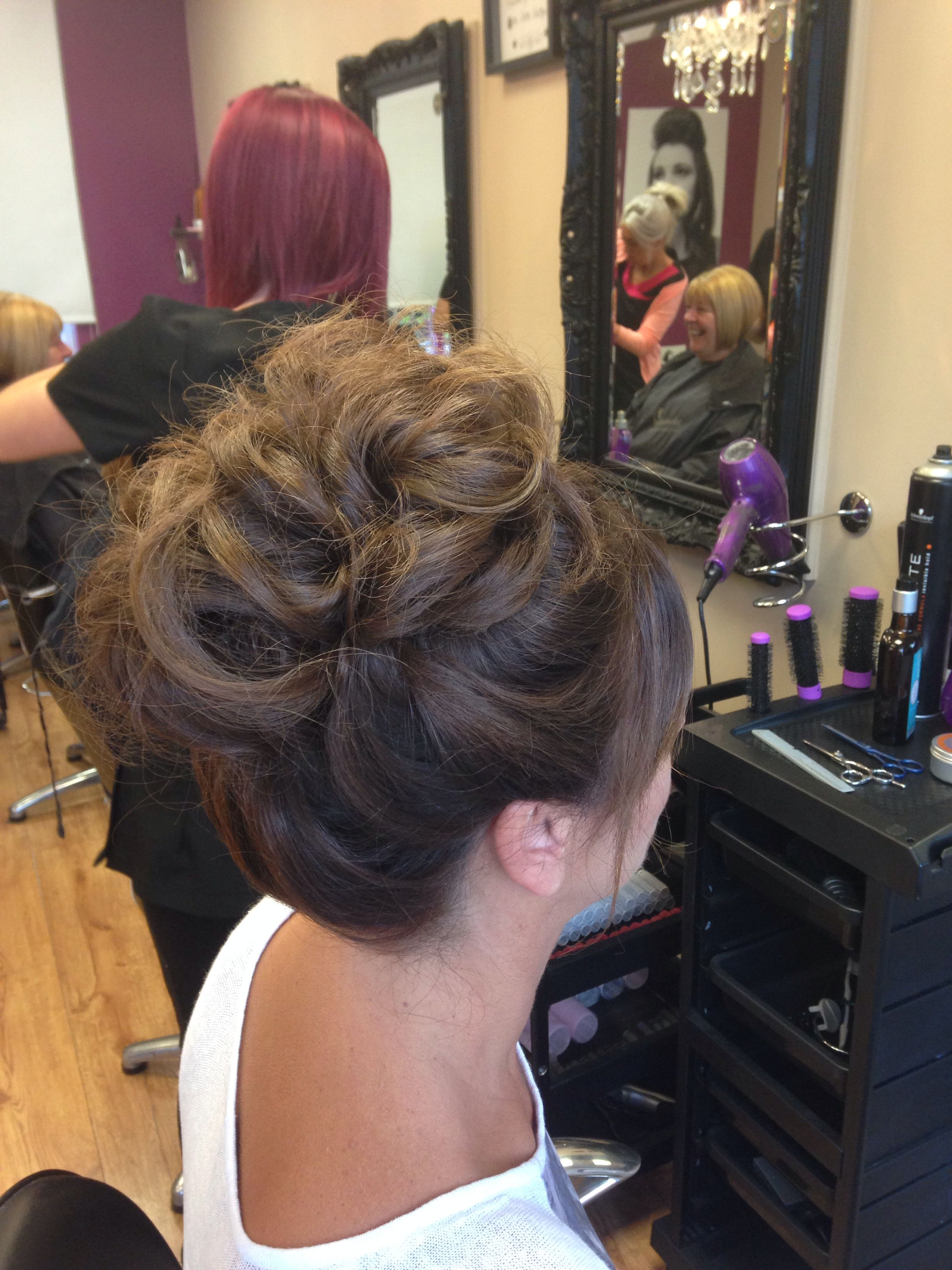 high hair your highness style formal wedding guest brown