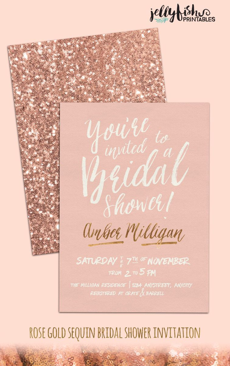 rose gold bridal shower invitation customized for you printable or printed pink gold sequins by jellyfishprintables on etsy