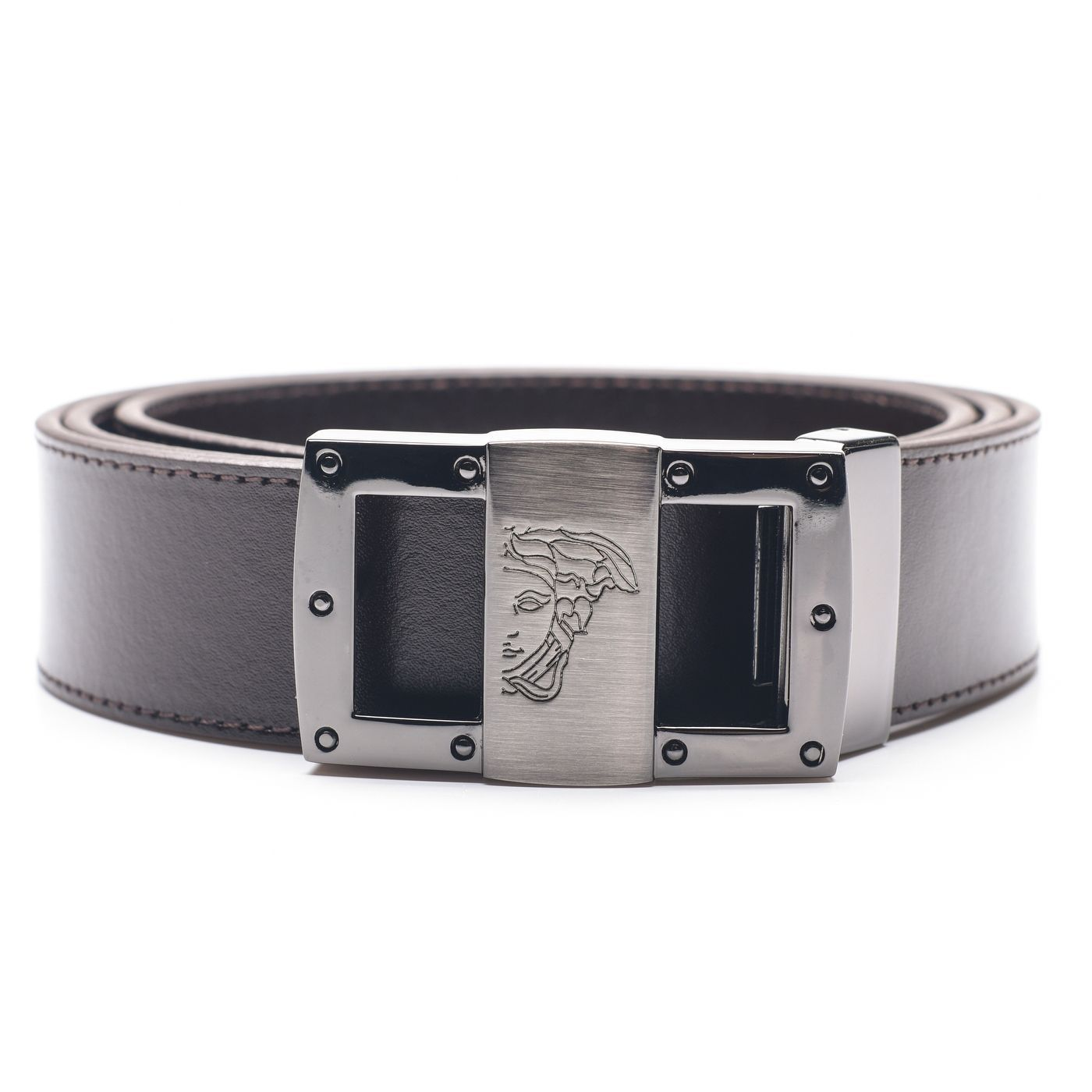 Versace collection medusa head leather belt dark brown medusa head