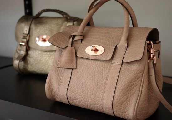 Mulberry- Small Bayswater Satchel Powder Beige Maxi Grained Leather and  Rose Gold hardware 437c2fab7dc54