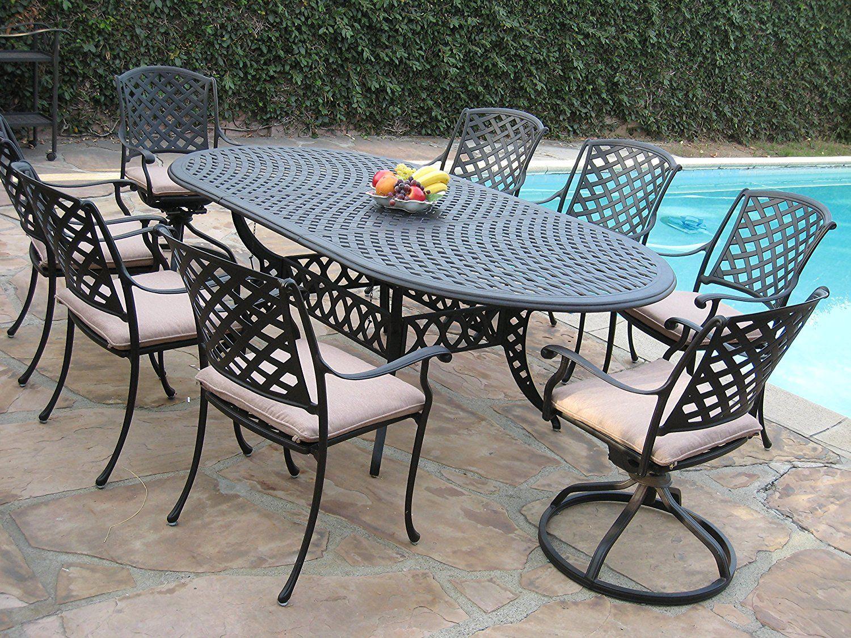 Amazon Com Cast Aluminum Outdoor Patio Furniture 9 Piece Expandable