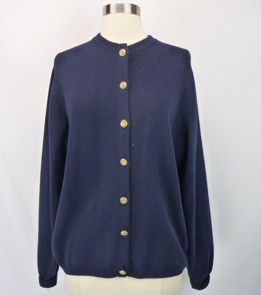 dadc501481 Vintage Pringle of Scotland 100% Cashmere Dark Navy Blue Cardigan Sweater  44 XL  Pringle  Cardigan