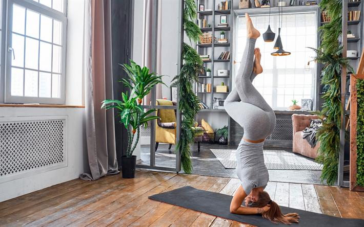 Herunterladen hintergrundbild yoga, yoga-übungen, die mädchen auf ...