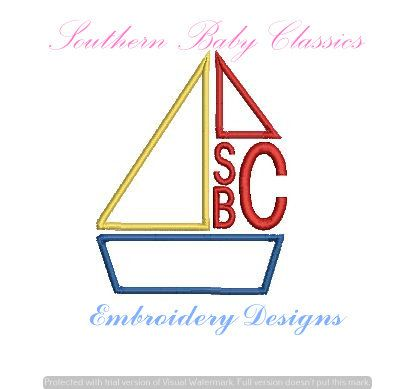 Boat Sailboat Monogram Frame Applique Nautical Boy Design File For