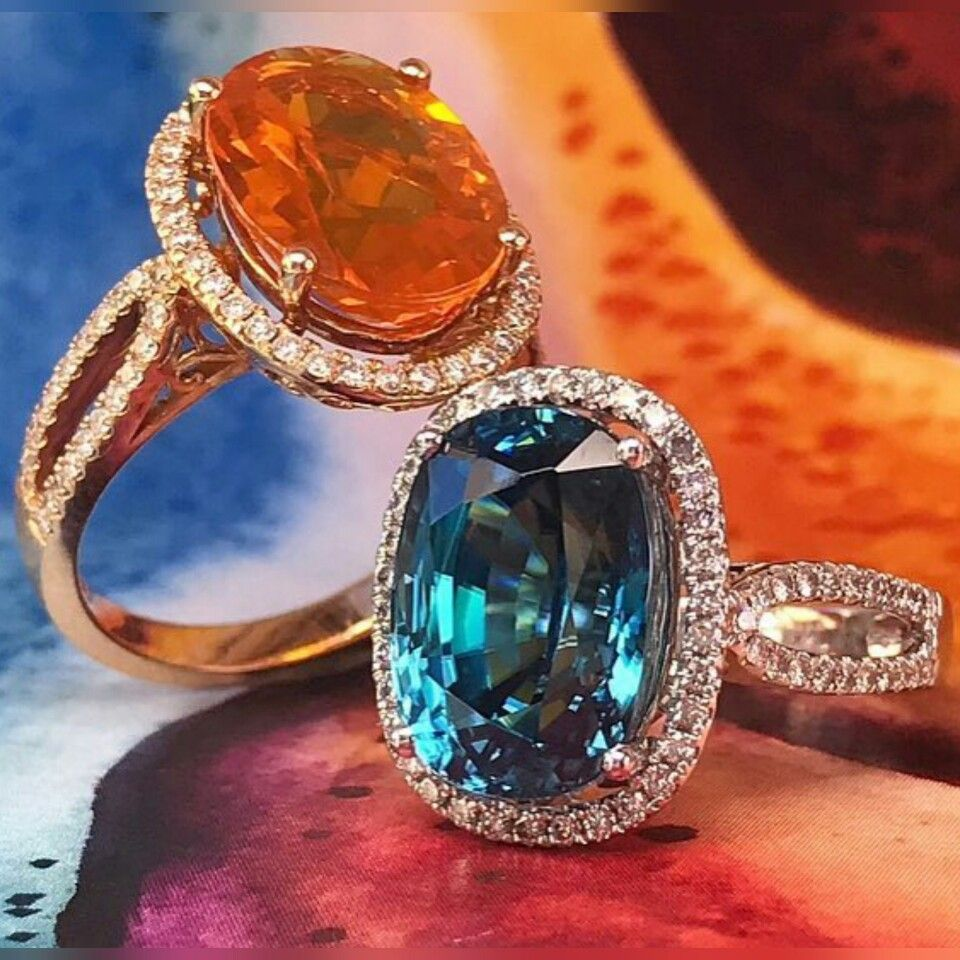 Timeless designs with a pop of color. #WhatsYourColor #FireOpal #BlueZircon #FineJewelry #YaelDesigns