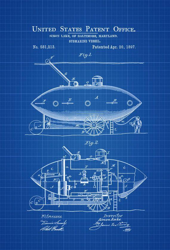 ec6e093ca6 Submarine Patent Print 1897 - Submarine Blueprint Vintage Submarine  Submarine Poster Naval Art Sailor Gift Nautical Decor Navy by  PatentsAsPrints