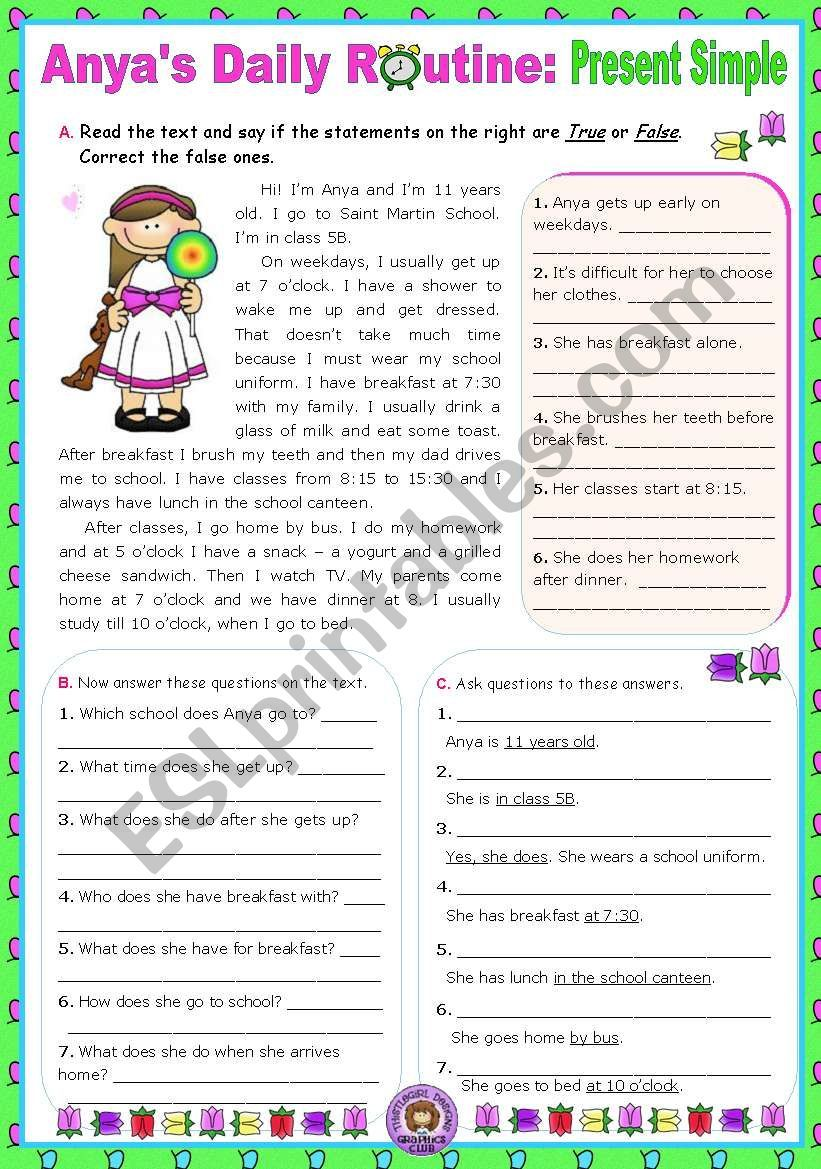 Anya S Daily Routine Simple Present Reading Comprehension Esl Worksheet By Mena22 Reading Comprehension Comprehension Learn English [ 1169 x 821 Pixel ]