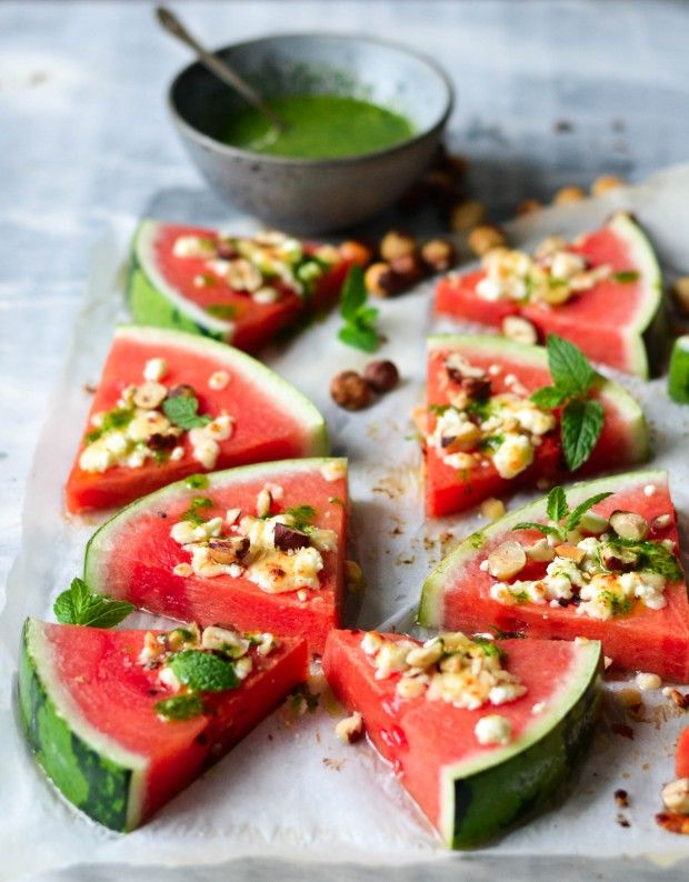 Watermelon Tapas - Grilled, juicy watermelon with golden cheese.