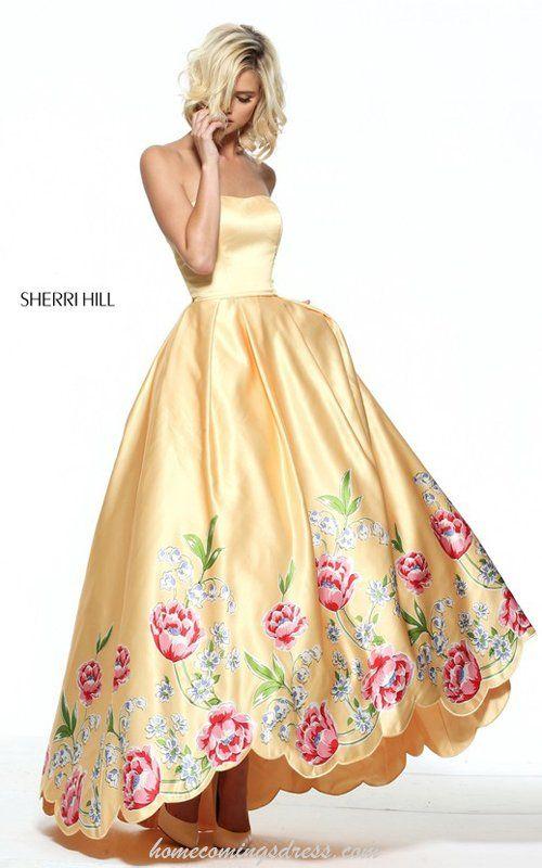 Sherri Hill 51139 Floral Print A Line Strapless Prom Dress 2017
