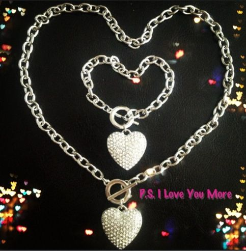 Silver Heart Toggle Necklace and Bracelet Set  from P.S. I Love You More Boutique