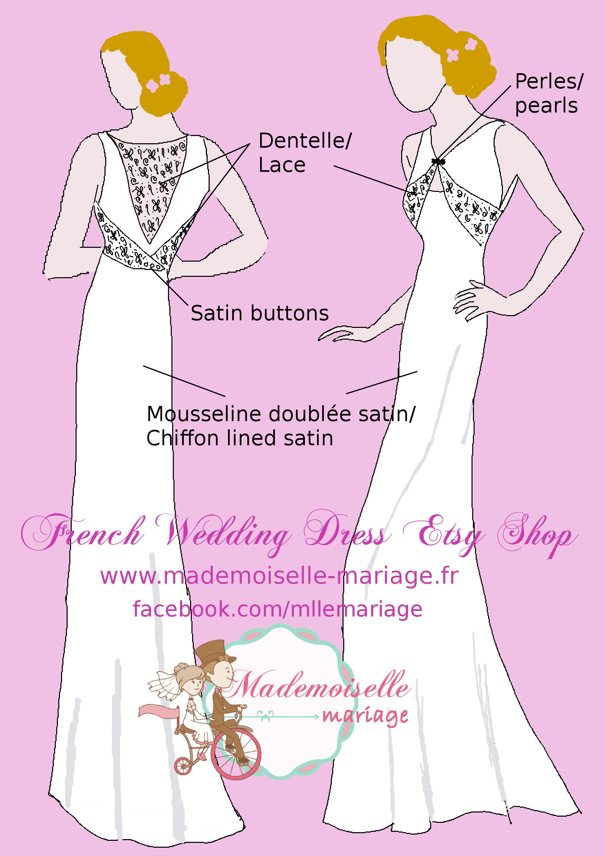 lace 1930 wedding dress bride shop at www.mademoiselle-mariage.fr ...