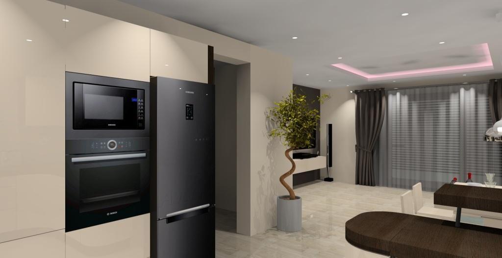 Znalezione Obrazy Dla Zapytania Salon Z Biala Kuchnia Lodowka Wolnostojaca Small Flat Home Kitchen Appliances