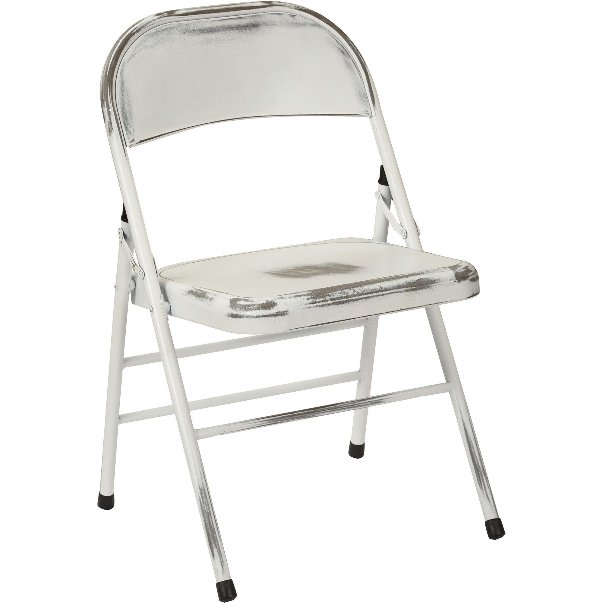 OSP Bristow Metal Folding Chairs Antique White Distressed Finish