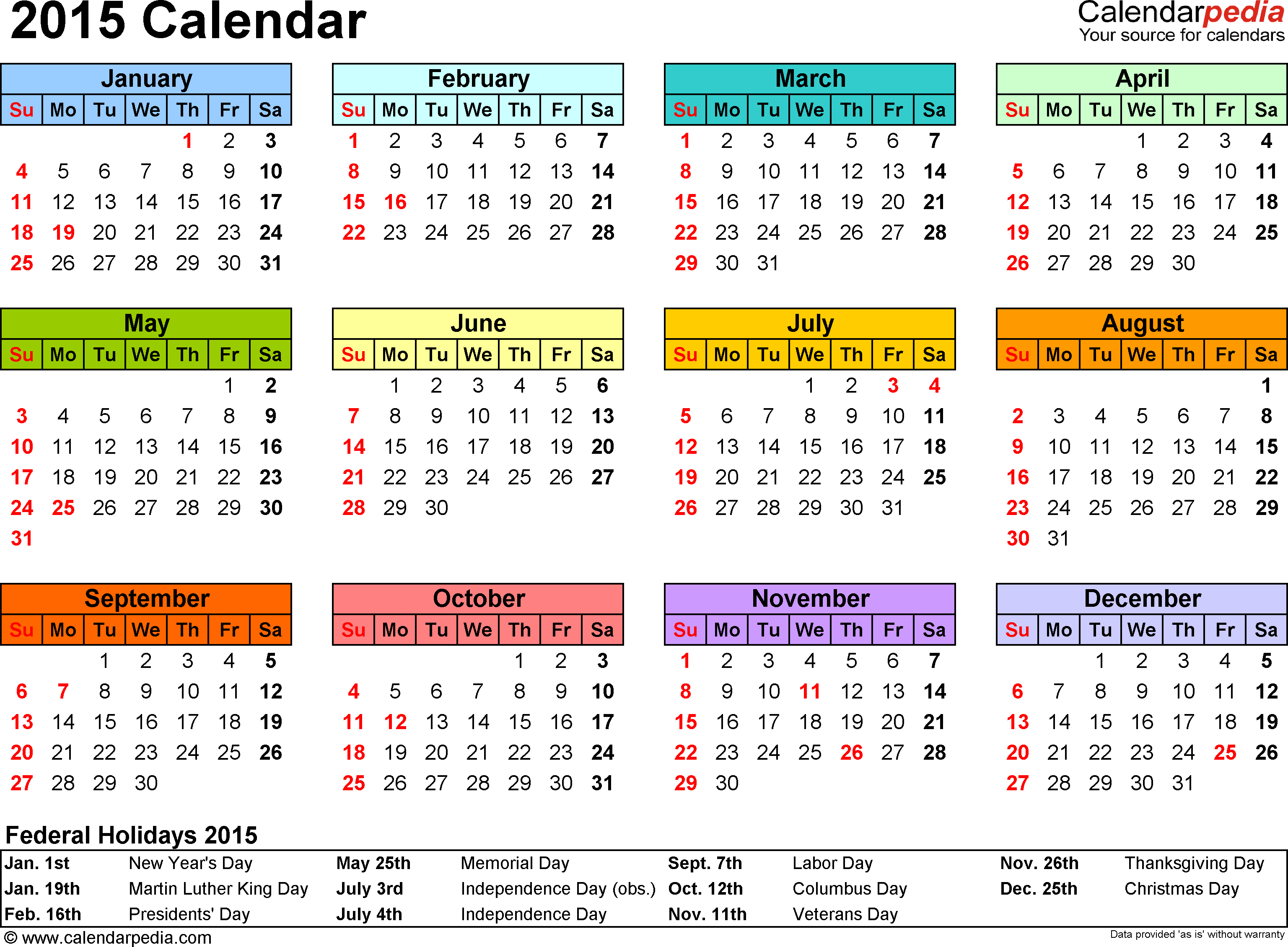 2015 Calendars | 2015 Calendar Excel   Download 14 Free Printable Templates  (.xls)