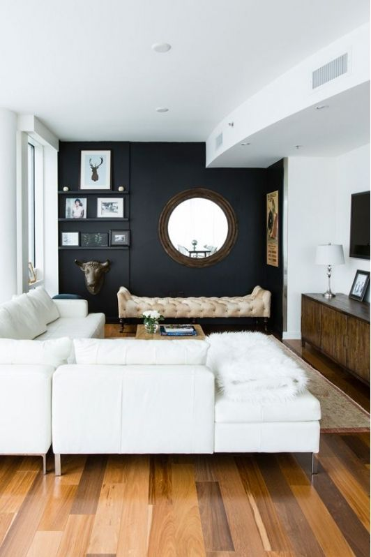 Amazing Living Room With Black Accent Wall Small Apartment Living Room Small Living Rooms Small Apartment Living