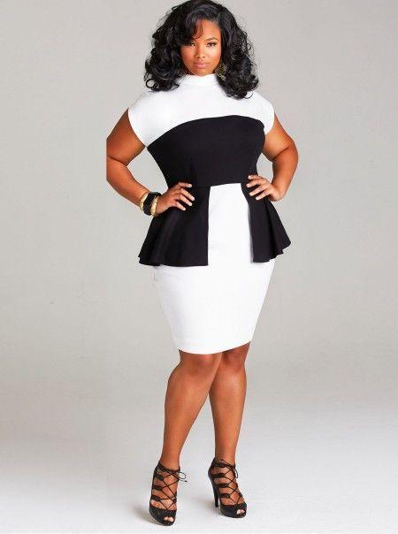 Black & White Plus Size loose With Belt Pencil Dresses
