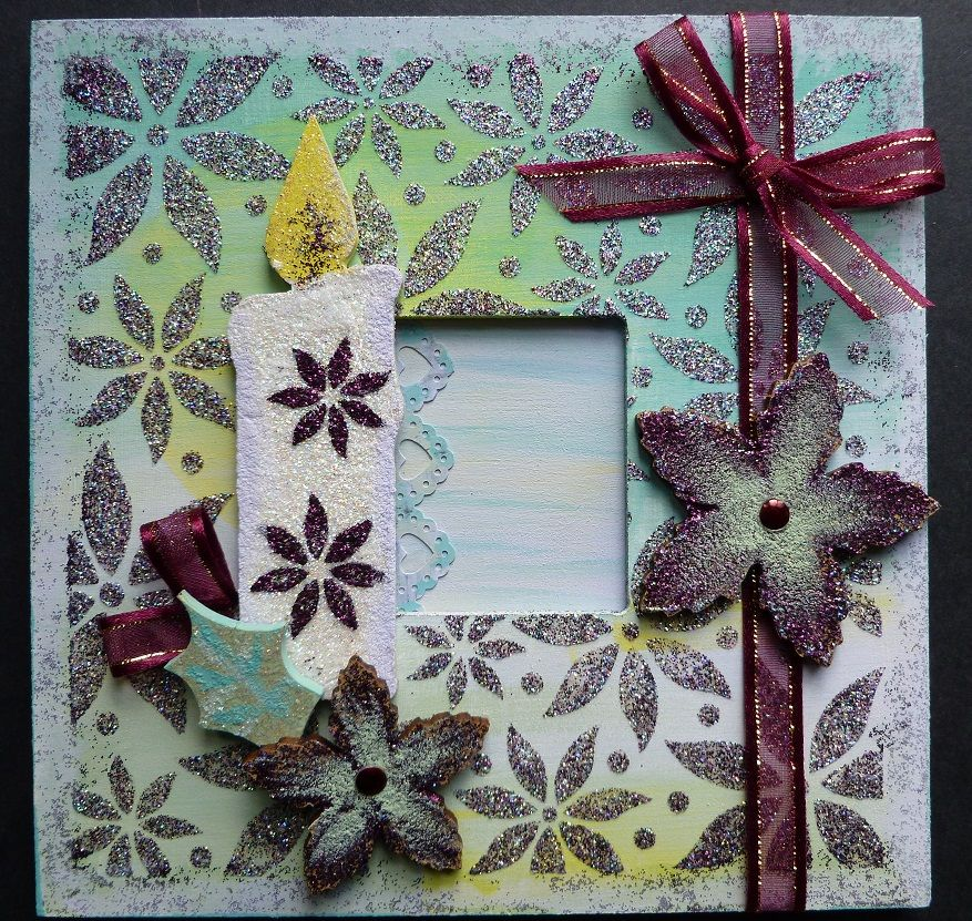 'A Candle at Christmas' MDF hanging wall plaque.   Imagination Craft's - Candle MDF Charm Kit.  Chalkies - Agean, soft sage, Cornflower & Citrus.  Diamond, Silver & Claret Sparkle Mediums.   Multi Poinsettia stencil.  Metal spatula.  Magi-bond glue.  October 2014.