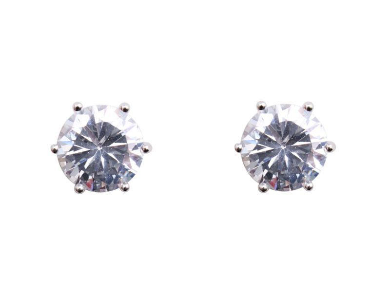 Cubic Zirconia Earrings Round Stud 10mm With Images Round Earrings Cubic Zirconia Earrings Earrings