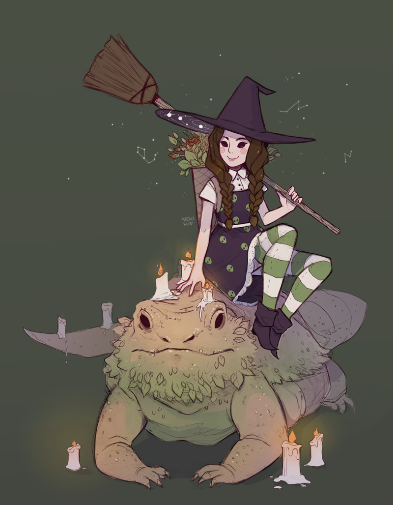 missusruin:  Witchsona commission for thisisnotduckeh aliens/candles/herbs  witch + bearded dragon familiar