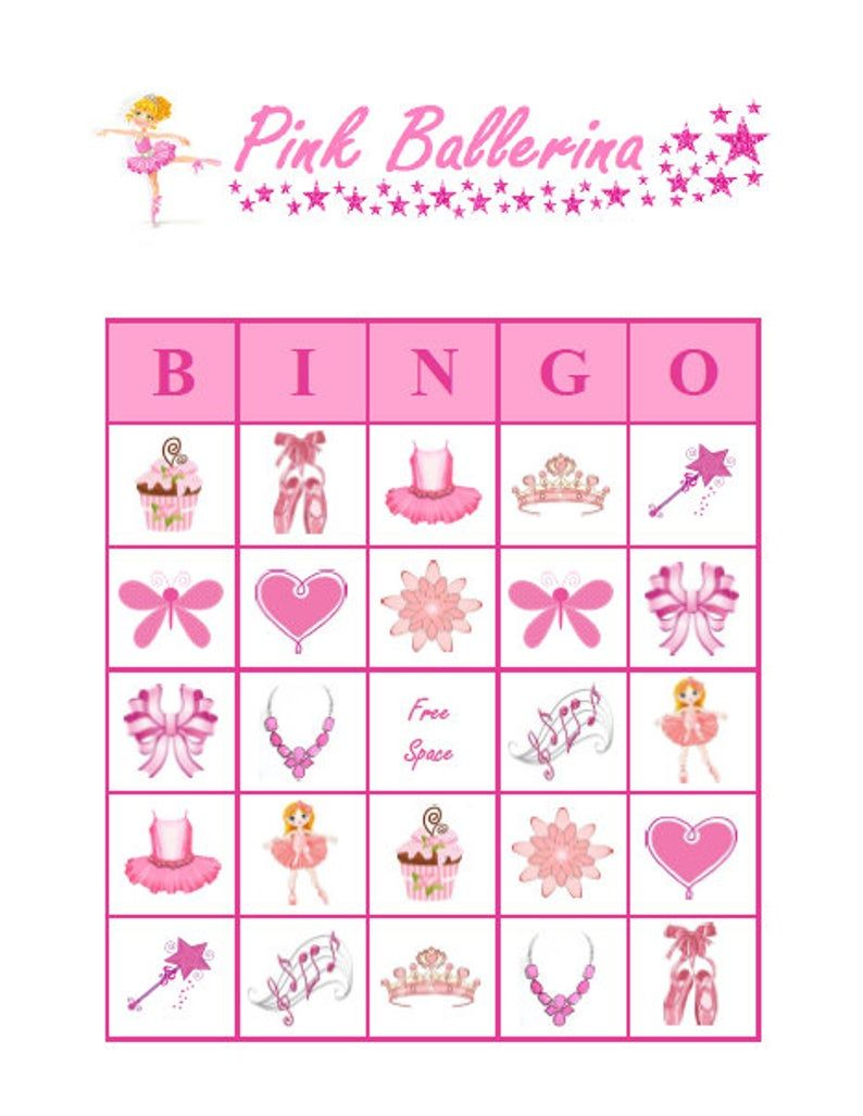 Ballerina Bingo Cards Baby Shower Bingo Game Cards Pink Set of 10