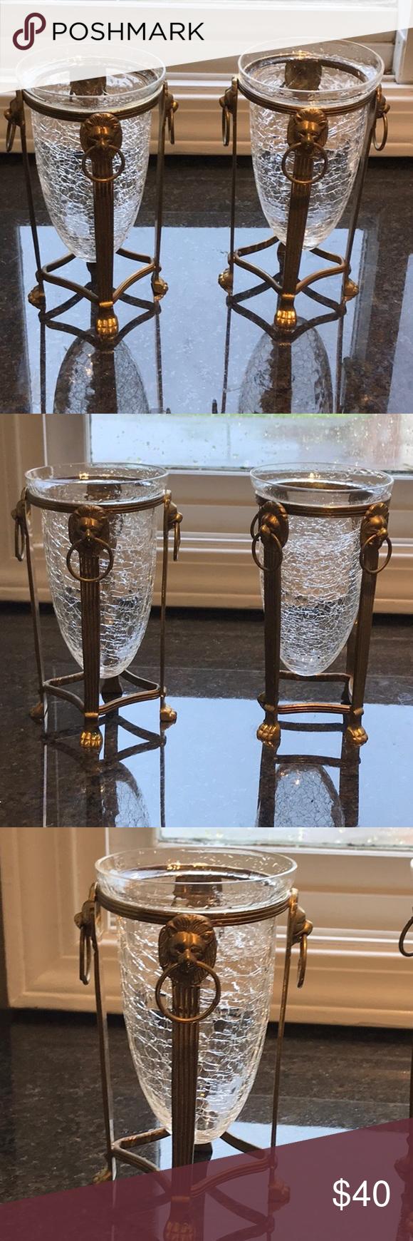 Brass Lion Head Holders W Crackle Glass Hurricane Crackle Glass Glass Candle Holders Tall Candle Holders