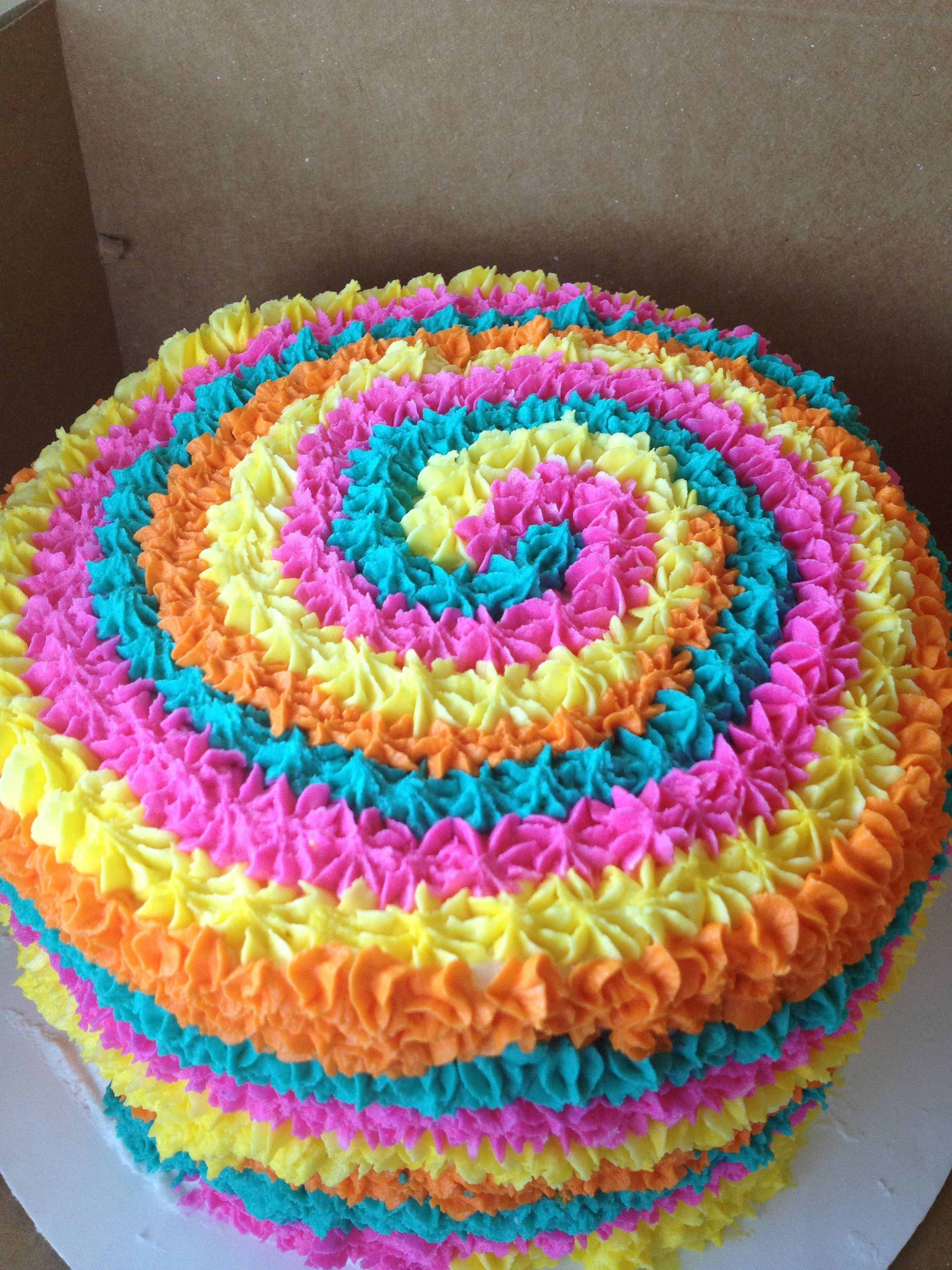 Fun Cake Tie Dye Hmmm Baby Gender Reveal Party