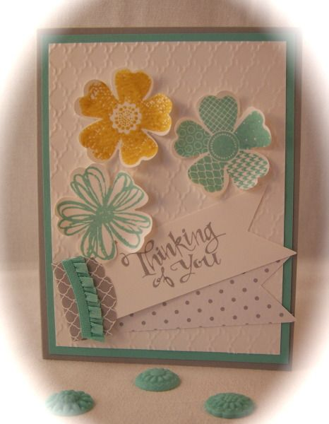Easy Paper Flowers Flower Stamped Cards Flower Cards Floral Cards
