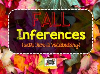 These cards target fall themed inferences. Along with targeting inferences, Tier 2 vocabulary (grades 3-4) is also targeted within the passages. Tier 2 words are underlined. Students should use context clues to determine the meaning of the word. Orange bird cards have 3rd grade vocabulary.