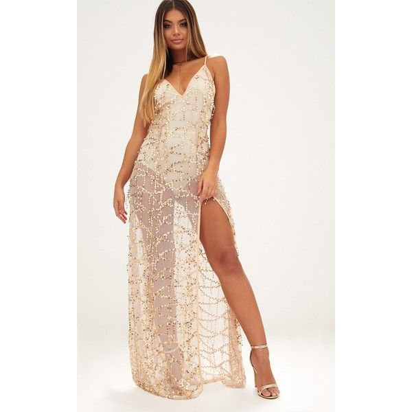 Gold Sequin Plunge Maxi Dress (£45) ❤ liked on Polyvore featuring ...