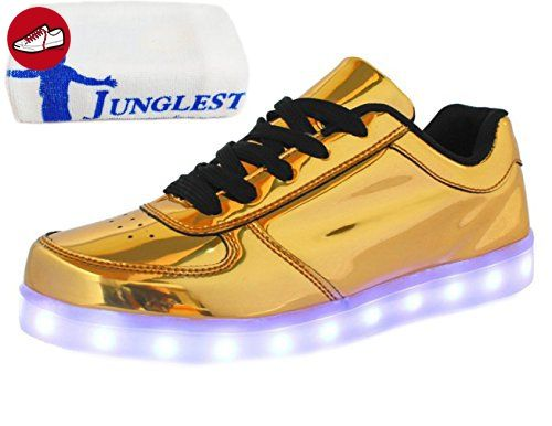 [Present:kleines Handtuch]Silber EU 44, weise für Unisex JUNGLEST® Tanzen Aufladen Sneakers Farbe LED Schuhe Party USB Glow Damen Sport Leuchte