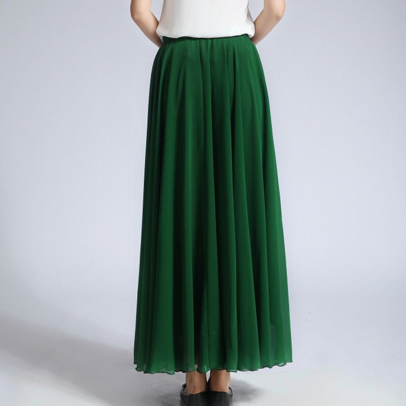 b56eb1e7a2e15 Forest Green Chiffon Maxi Skirt with Extra Wide Hem - Long Grass Green Chiffon  Skirt - SK5c1